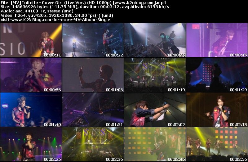 [MV] Infinite - Cover Girl (Live Ver.) [HD 1080p Youtube]